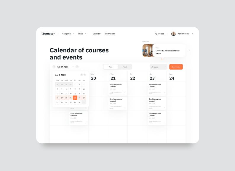 online education platforms design — calendar of events