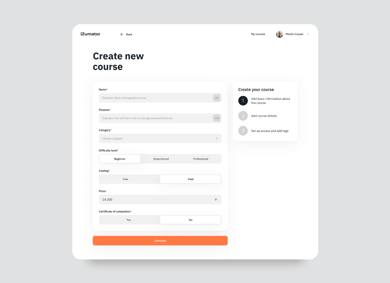 designing online education platforms — creating course page