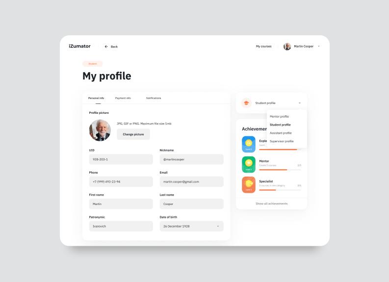 designing online education platforms — user profile