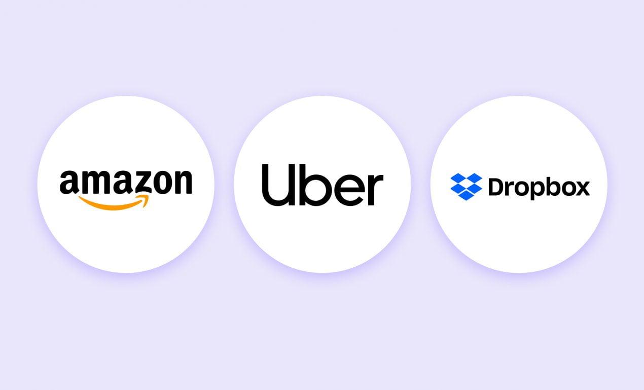 Amazon, Uber, Dropbox logos as MVP software development