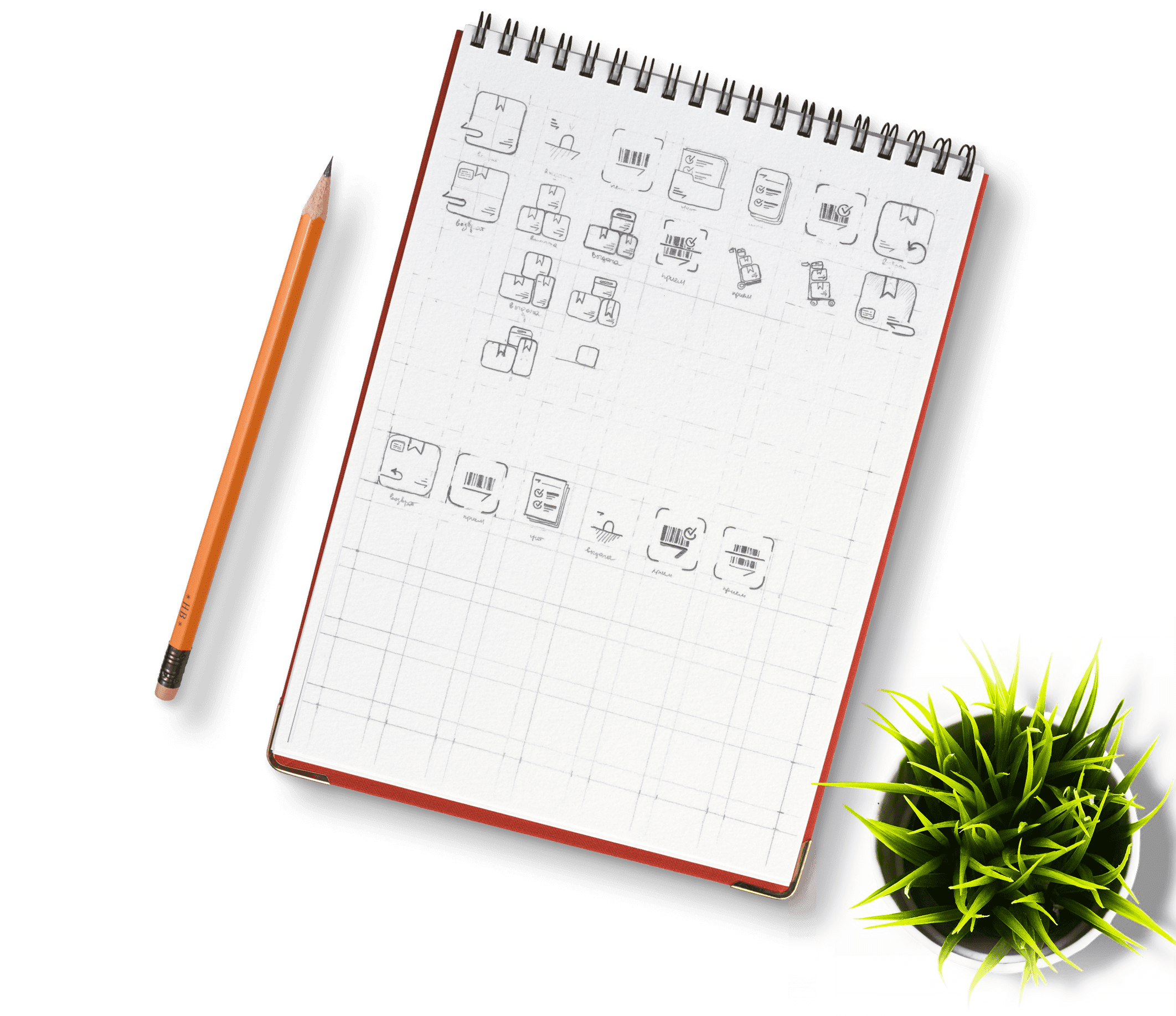 Pen and notebook with plant