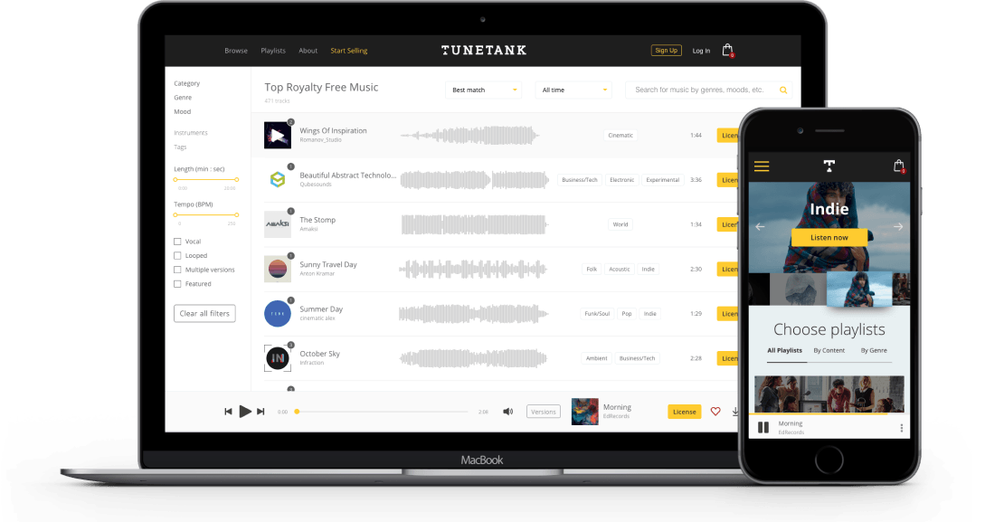 tunetank desktop and mobile version